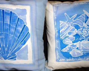 "Sea Side Blue and white 20""x20"" pillow covers.Designer Pillow - Decorative Pillow - Throw Pillow."