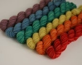 "Handpainted Superwash Sock Yarn Minis ""Vintage Rainbow"" -- Granite Sock 100% Superwash Merino Mini Set"