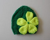 Hand Knitted Kelly Green Baby Hat With Oversized  Large Neon Yellow Flower By Boca Lane