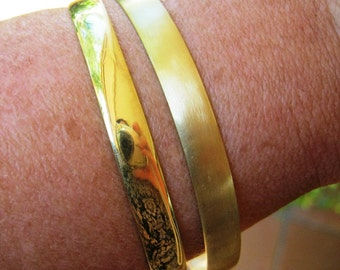 Brass bamgle. Wide brass bangle- round Special order