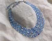 Vintage Three Strand Crystal Beaded Necklace