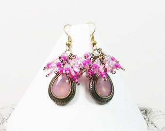 Wire Wrapped Earrings, Antiqued Earrings, Pink Earrings, Dangle Earrings. Beaded Earrings