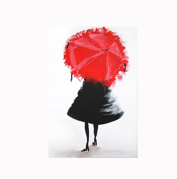 Items similar to abstract girl with red umbrella acrylic for Painting red umbrella