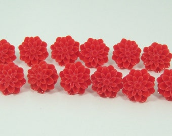 12 Red Dahlia Flower Push Pins or Magnets