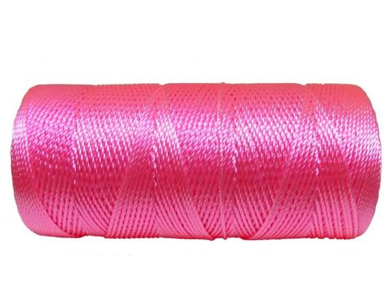Micro Macrame Thread, 15 Meters/16 Yards Nylon Cord Pink not waxed, Crochet Beading String - PINK