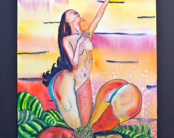 Awakening.Erotic Fantasy picture,ORIGINAL watercolor painting/drawing on Arches watercolor. Naked woman,flower,sunrise,imaginary world.