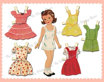 INSTANT DOWNLOAD, Printable Paper Doll, Digital Collage Sheet, Retro Vintage Paper Dolls