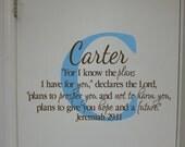 "Jeremiah 29:11- Monogram Scripture Christian Religious Bible verse Vinyl nursery teen wall decor-I know the plans- 16.5""x27"