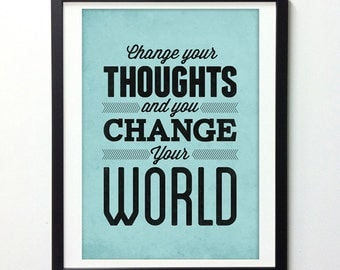 "Motivational Poster ""Change Your Thoughts"" Positive Quotes, Typography Poster, Inspirational Quote, Motivational Wall Art, Quote Posters"