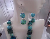 """Blue-green Basketball wives inspired pave beads 16"""" dangle earrings 1.5"""" two strand necklace diver link chain"""