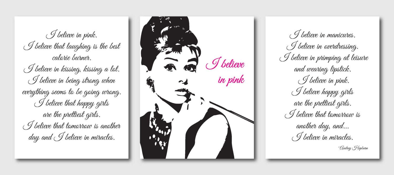Wall Art Trio Audrey Hepburn I Believe In Miracles I