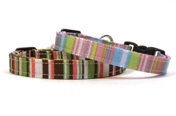Striped Down Breakaway Cat Collar