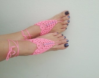 Pink Barefoot Sandals, Nude shoes, Foot jewelry, Wedding, Victorian Lace, Sexy, Lolita, Yoga, Anklet