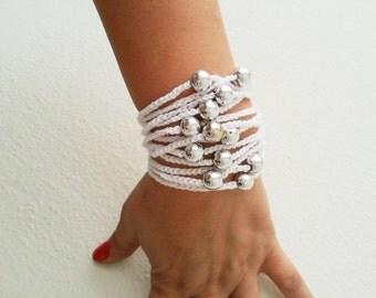 Hand-crochet Rope Bracelet with silvery beads, beach,boho, lolita,wristband,wriststrap