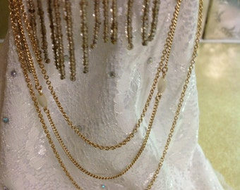 Vintage Avon Gold Tone Three Layer Chain Necklace With Pearls