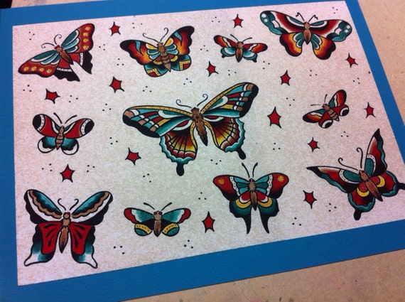 Traditional Butterfly Tattoo Flash: Sailor Jerry Style Butterfly Tattoo Flash