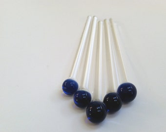 Swizzle Sticks, Glass Mixing Sticks, Paint or Cosmetic Mixing Glass Rod, 5 pack made of Cobalt Blue and Clear Borosilicate Boro