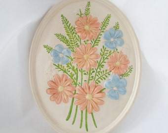 Vintage 1979 Ceramic Flower Wall Hanging, Atlantic Mold, Spring Flowers, Cottage Chic, Shabby Chic, Blue, Pink, Iridescent Paint, Art