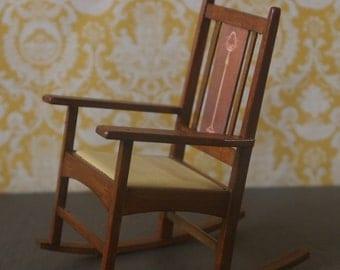 Dollhouse Miniature Harvey Ellis Style Craftsman Rocking Chair