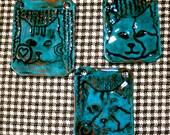Cat Portrait Pendant in Blue Aqua Ceramic