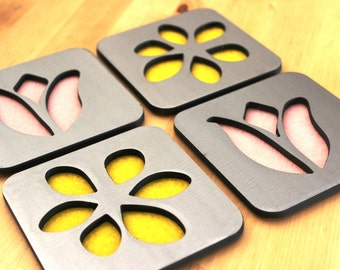 Floral Daisy and Tulip Coaster Set of 4, Steel, felt, springtime, pink, yellow