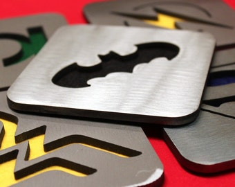 Justice League Coaster set of 5, Steel, Batman, Wonder Woman, Superman, Green Lantern, Flash