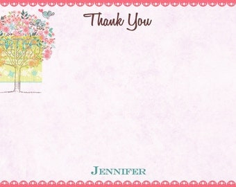 Pink Tree with Birds Thank You Card - Tree Thank You Card - Tree with Birds Note Card - Tree with Family Birds
