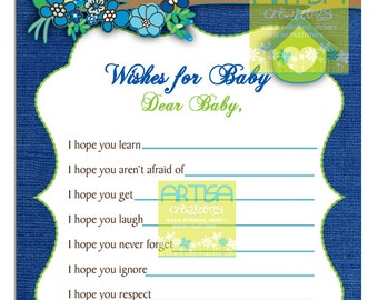 Blue and lime Owls Baby Shower Wishes for Baby - Blue Owls Baby Shower WIshes for Baby - Owls Baby Shower - Owl Baby Boy Shower Wishes