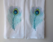 Peacock Feather Embroidered Dish Towels Set of Two Jewel Tone Colors Flour Sack Kitchen Towels