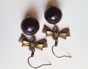 Bead and bow dangle earrings choice of colours