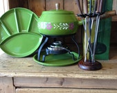 Complete Retro Avocado Fondue Set with Forks in Wood Rack and Plates