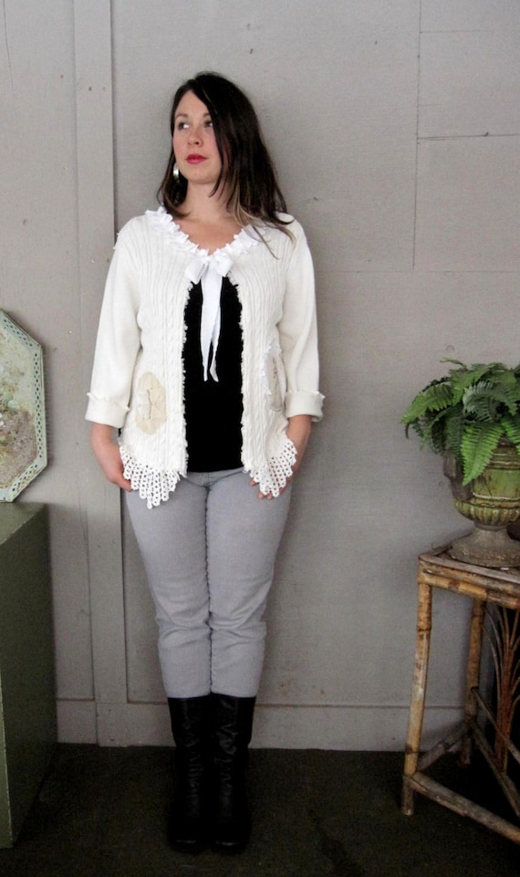 SALE upcycled clothing shrug Romantic white sweater eco raw Tattered capelet Cardigan Boho Shabby Chic cowgirl prairie ranch M-XL