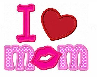 Instant Download I Love MOM Applique Machine Embroidery Design NO:1328