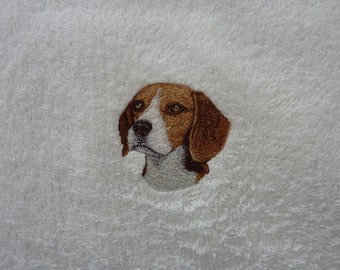 Beagle Embroidered hand towel