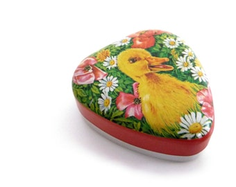 Vintage Italian Tin Box - Retro Licorice Candy Metal Box - Heart Shape - Duckling and Flowers - Perfetti / Italy