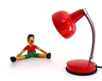 Vintage Red Metal Gooseneck Desk Lamp - 1970s