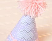 Purple and Pink Baby Girl Birthday Hat-Personalization Included