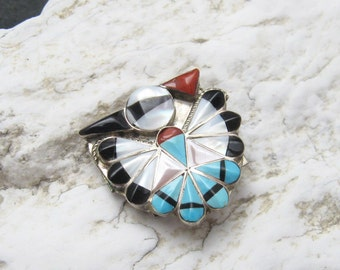 Vintage Sterling Thunderbird Bolo Turquoise Onyx MOP H407