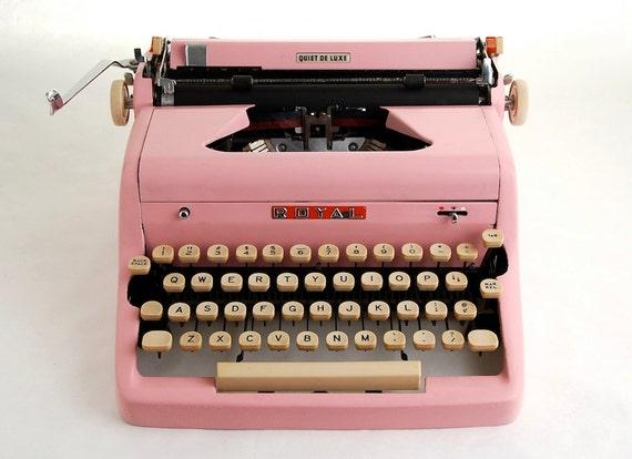 Pink Typewriter, Royal Quiet De Luxe, 1950s