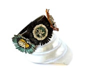RESERVED- Coffee Brown Leather Wrist Cuff on Special Three Colorful Spring Flowers, with Snap Bracelet.Camel,Coffee Brown and Green Flowers