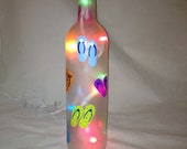 Hand Painted Recycled Wine Bottle with flip flops and lights