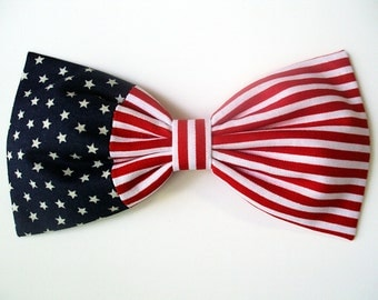 Patriotic American Flag Hair Bow- Barrette, Alligator Clip, or Headband