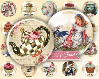 Alice - circles image - digital collage sheet - 1 x 1 inch - Printable Download