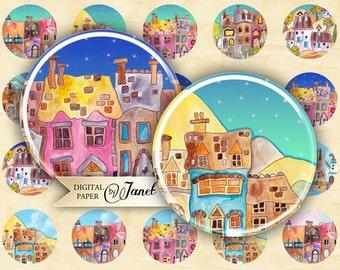 Sweet Village - circles image - digital collage sheet - 1 x 1 inch - Printable Download
