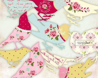 Sweet Bird - digital collage sheet - set of 2 sheet - Printable Download