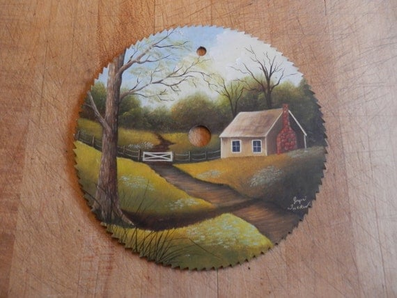 Hand Painted Circular Saw Blade Country Cottage Scene