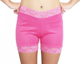 Hot Pink Lace Biker Shorts No Chafe Modesty Bloomers