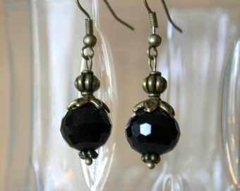 Antique Brass and Black Crystal Dangle Earrings