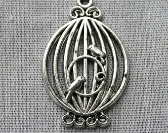 5 Tibetan Silver BirdsCage Charms/Pendants CS-0004