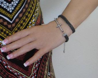 Braided leather cross bracelet. Rhinestone cross bracelet. Cross bracelets. Leather cross bracelets.